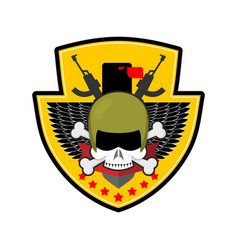 Military emblem army logo soldiers badge skull in vector