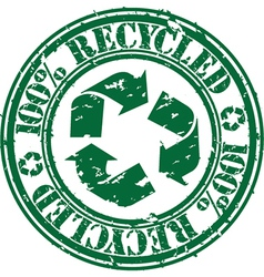 100 percent recycled stamp vector image