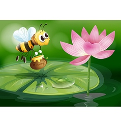 A bee with a pot of honey above a waterlily vector image