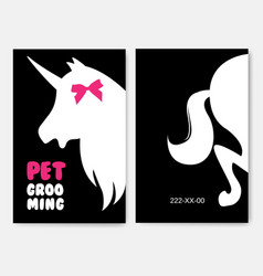 business cards templates of grooming service pet vector image vector image