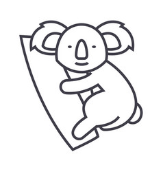 cute koala line icon sign on vector image