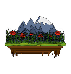 forest on flotating piece of land icon image vector image