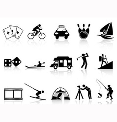 Leisure and Recreation icons set vector image