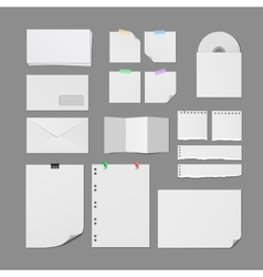 Office Paper Supplies Blank Templates Set vector image