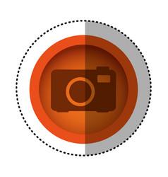 orange round symbol digital camera icon vector image vector image