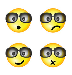 Smiley with sunglasses and different face vector