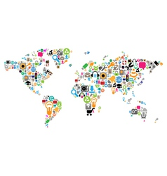 World map made of icons vector image