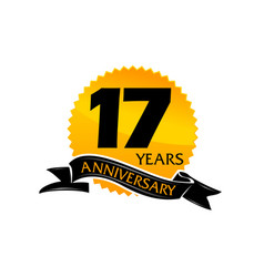 17 years ribbon anniversary vector image