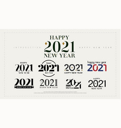 2021 happy new year logo design 2021 number vector image