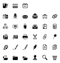 33 black office icons vector image