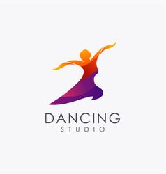 Abstract dancing woman logo icon vector