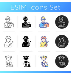 aging process icons set vector image