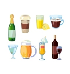 Alcohol and non alcoholic drinks with bottles vector