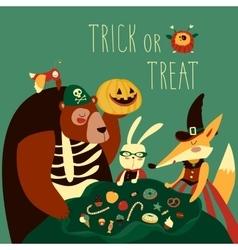 Animals in halloween costume vector