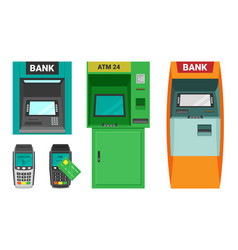 atm machine and cash terminal set device vector image