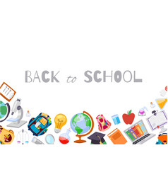 back to school banner with backpack globe vector image
