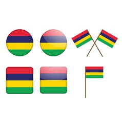badges with flag of Mauritius vector image