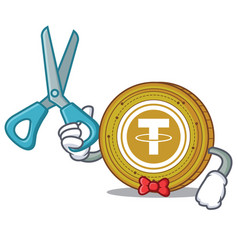 Barber tether coin character cartoon vector