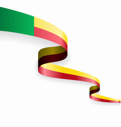 benin flag wavy abstract background vector image