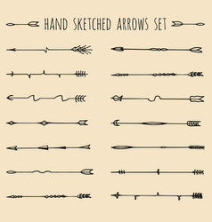 Big set hand drawn ethnic tribal arrows vector