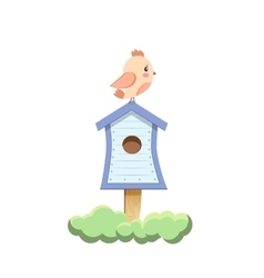 Bird sitting on birdhouse vector image