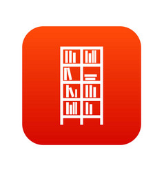 bookcase icon digital red vector image