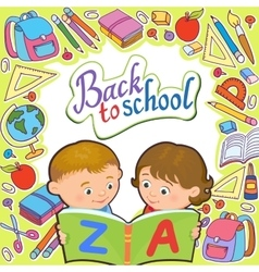 Cartoon kids reading book vector