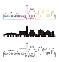 Castellon skyline linear style with rainbow vector image