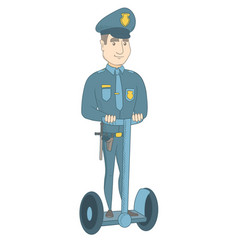 Caucasian security guard riding electrical scooter vector