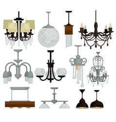 chandeliers isolated interior objects light vector image