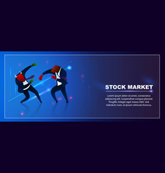 Character trader bear win bull invest stock market vector
