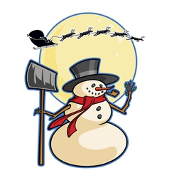 christmas winter cartoon snowman graphic ca vector image