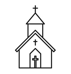 Church building icon outline style vector