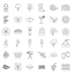 clover icons set outline style vector image