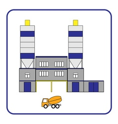 Concrete production plant icon with truck in the vector