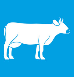Cow icon white vector
