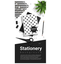 Creative scene with black and white stationery vector