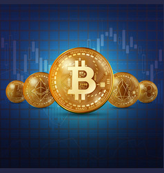 cryptocurrency golden coins background vector image