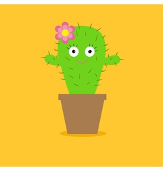 Cute cartoon cactus with eyes and flower in pot vector image