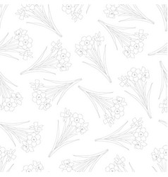 Daffodil - narcissus outline seamless on white vector