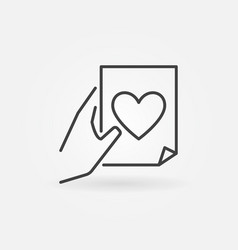 document with heart in hand outline icon or vector image