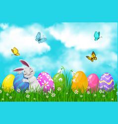 easter egg hunt bunny or rabbit on spring grass vector image