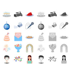 Event organisation cartoonmono icons in set vector