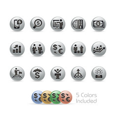 financial strategies icons - metal round series vector image