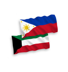 Flags philippines and kuwait on a white vector