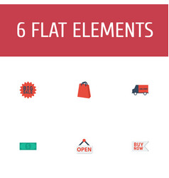flat icons big sale sign bus and other vector image