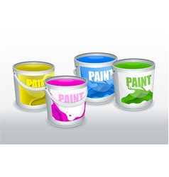 Four cans paint vector
