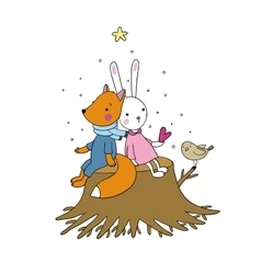 Fox rabbit and bird sitting on a tree stump vector image
