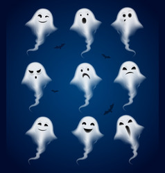 Ghost emotions realistic icons set vector