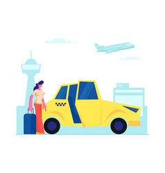 Girl passenger with luggage stand near yellow taxi vector